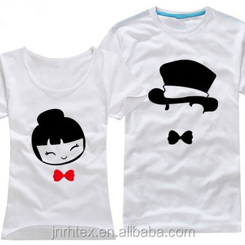 Cute newest 100 cotton print couple t shirt couple shirts for Couple printed t shirts india