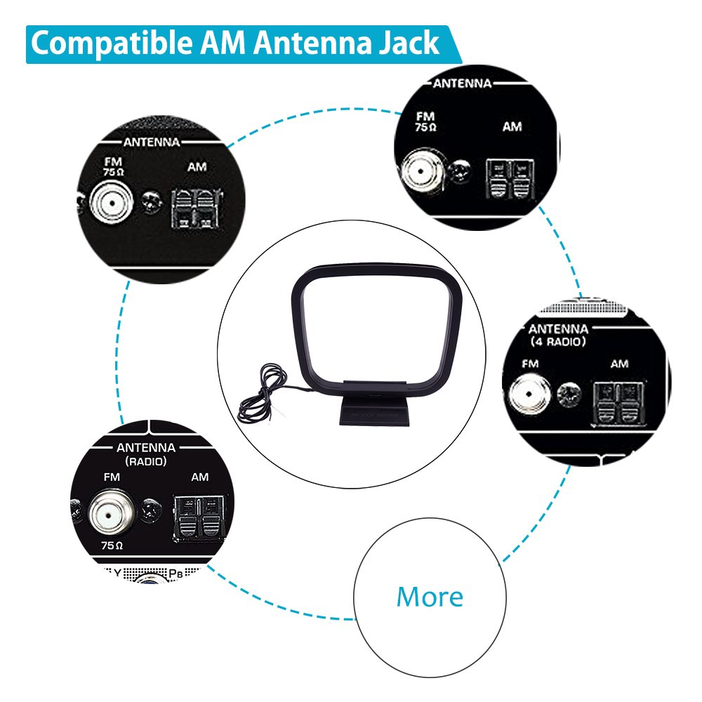 AM antenna ad anello General purpose radio antenna per interni JVC Marantz Onkyo Sistemi Audio Denon Yamaha Panasonic Sharp BOSE