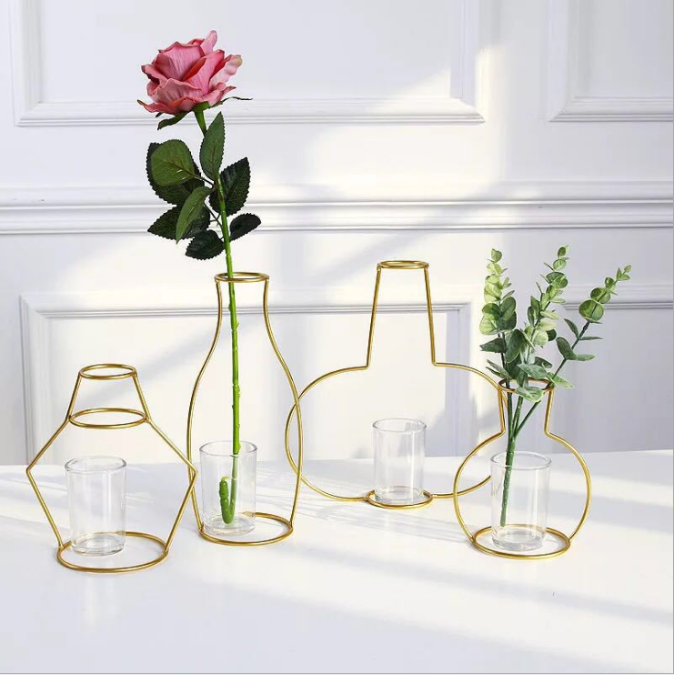 Europe hydroponic container glass bottle tabletop adornment iron frame art glass flower vase blown