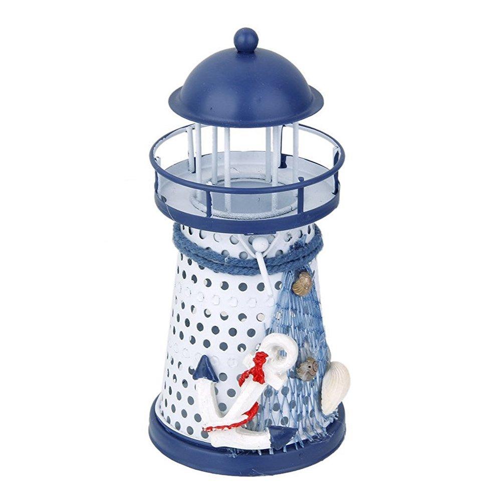 Tinksky Lighthouse Decor Natical Marine Model Tealight Holder Mediterranean Style Lighthouse Nautical Fish Net Shell Buoy Decor - Size Small (Anchor)