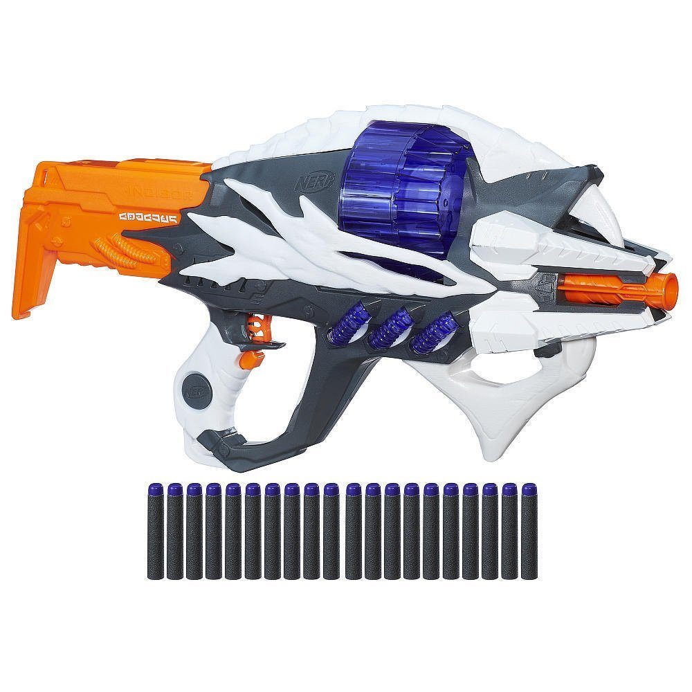 NERF Alien Menace Incisor Revolving Blaster Collectible Toy Gun with 20 Foam Darts