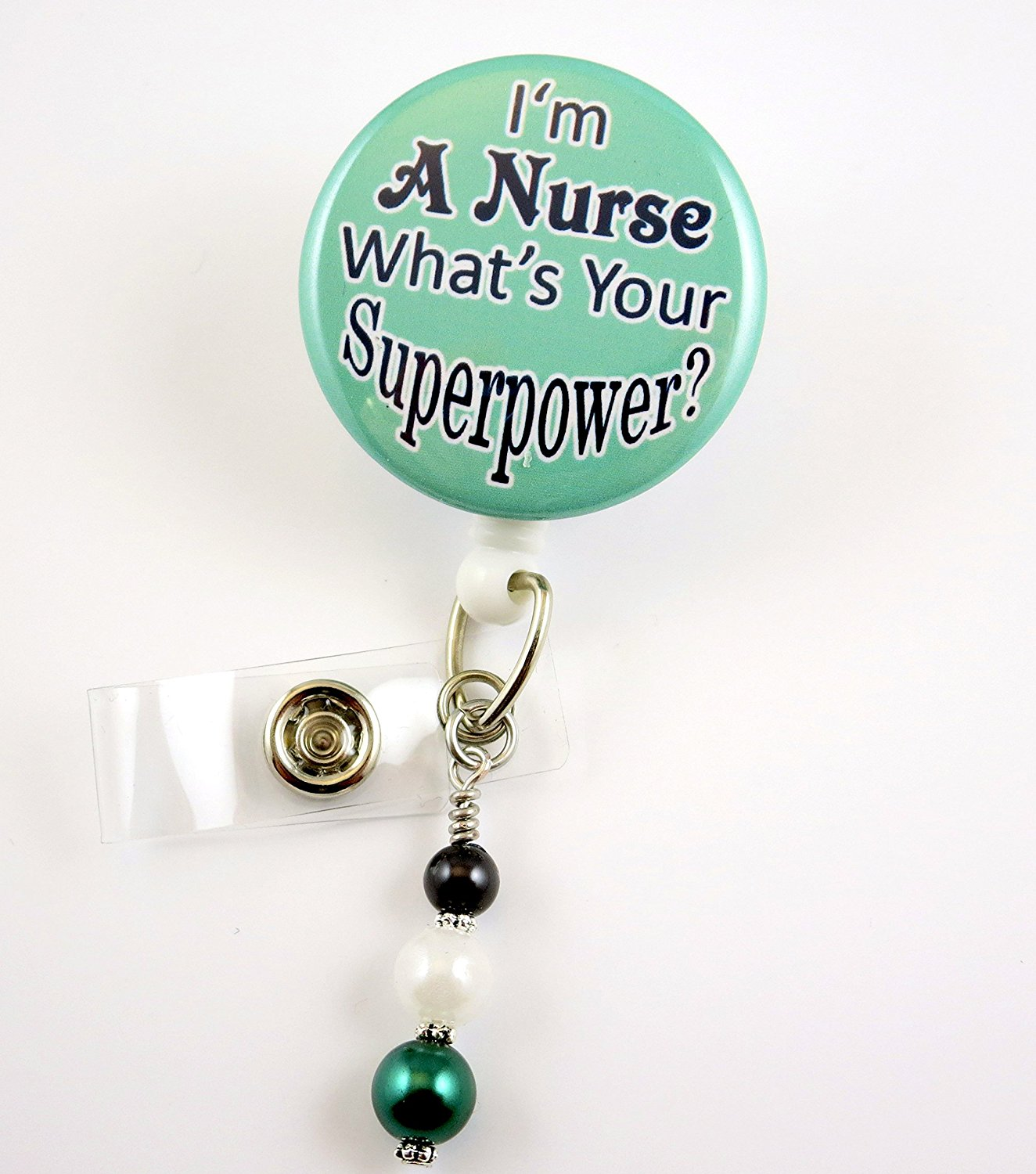 I'm a Nurse What's your Superpower - Nurse Badge Reel - Retractable ID Badge Holder - Nurse Badge - Badge Clip - Badge Reels - Pediatric - RN - Name Badge Holder
