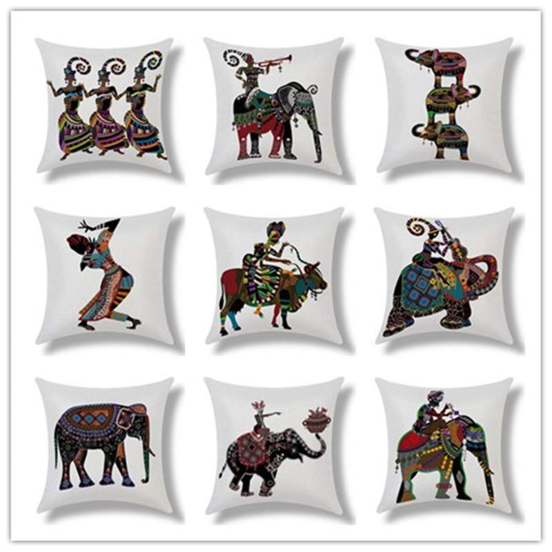 Retro <font><b>Bohemian</b></font> Style Totem Printed <font><b>Decor</b></font> Cushion Pillow Almofada <font><b>Home</b></font> Linen Cotton Throw Pillow Fashion Cushions Fundas Cojines
