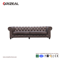 Orizeal Classic Tufted Chesterfield Leather Sofa, Living Room Genuine Leather Sofa Set (OZ-LS-2029)