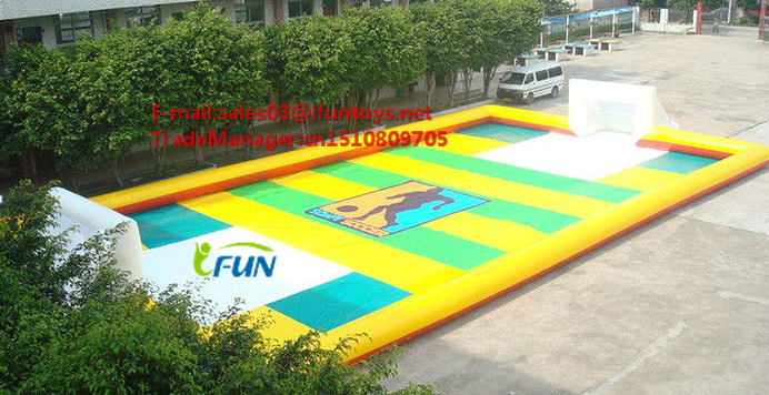 inflatable soapy football pitch/inflatable sport arena/soap football
