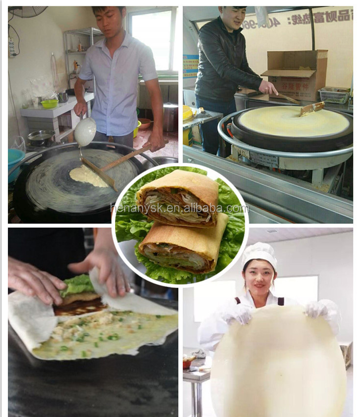 Gas  Rotating Automatic Pancake Crepe Maker Making Machine With different diameter