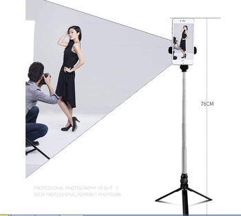 2019 Best Sell Factory Price New Bluetooth remote control Selfie Stick Tripod with Fill light beauty Mirror