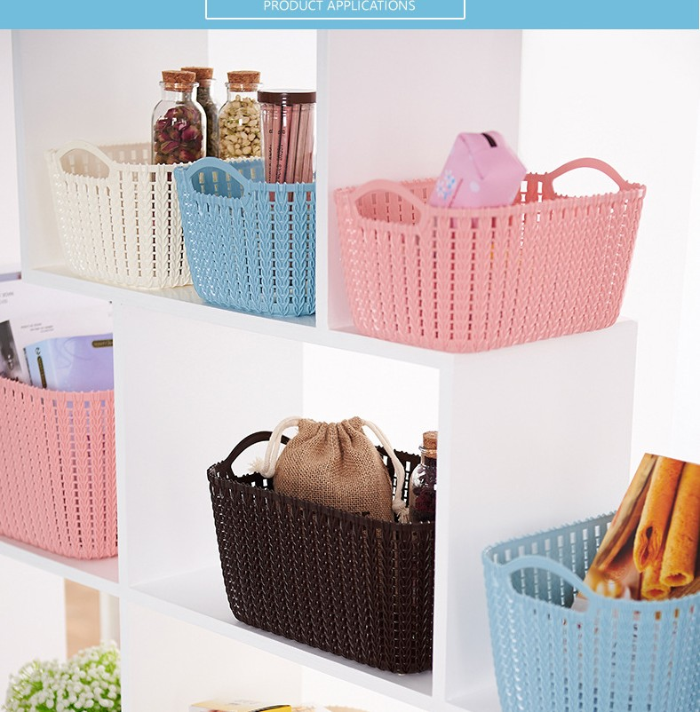 Rectangle shape storage black plastic woven basket
