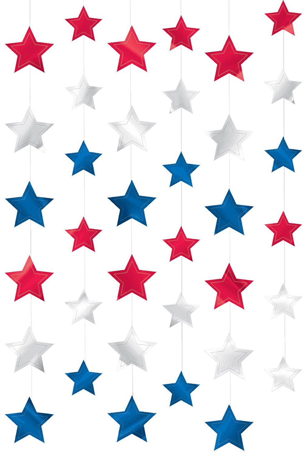 """Amscan Red White & Blue Fourth of July Party Patriotic Stars Doorway Curtain Decoration, Foil, 7"""", Pack of 6 Room Decorations"""