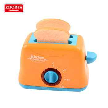 zhorya new style pretend play battery operated kitchen plastic bread toaster toy