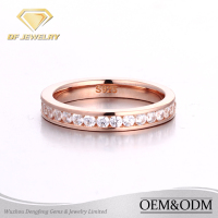 guangzhou fine silver jewelry rose gold plated AAA cubic zirconia ring