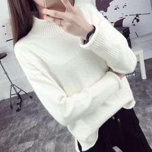 spring outdoor loose knit high neck plain color woman base shirt sweater