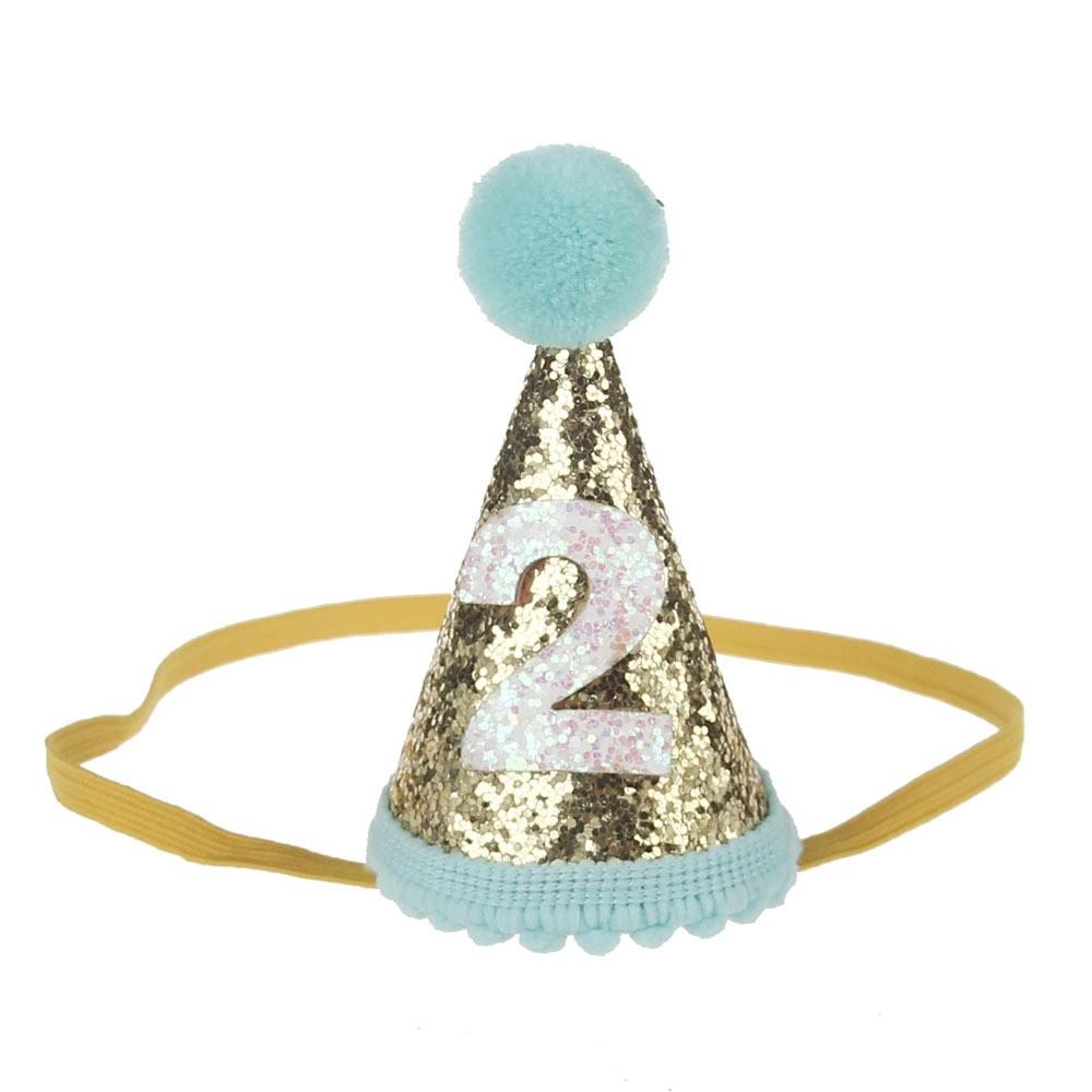 1 2 3 Years Old Birthday Hat Mini Felt Glitter Cone Shape Crown Headband For