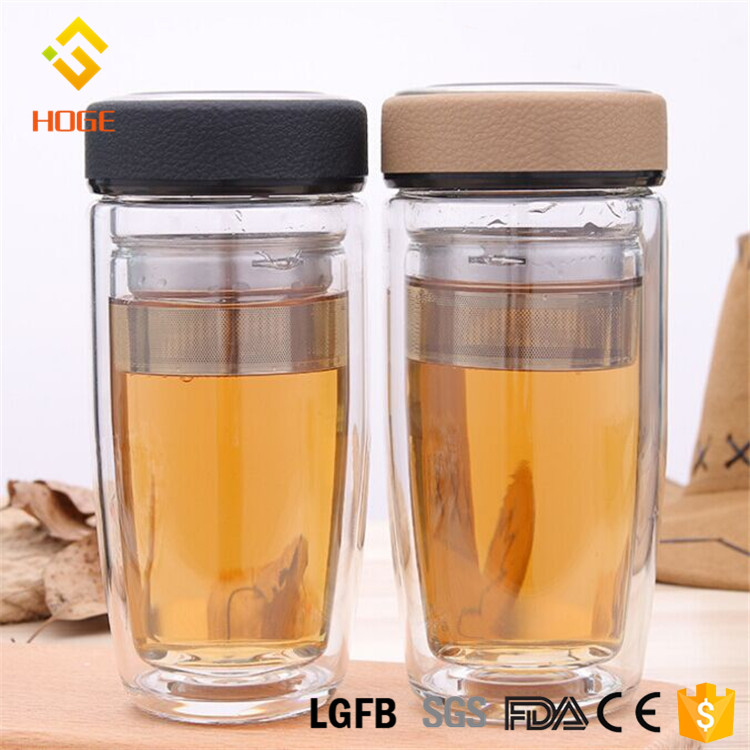 300ml Double Wall Glass Travel Mug Reusable Glassware Coffee Cup Custom Juice Milk Water Bottle Tea Glass Cup With Filter