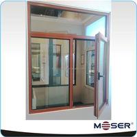 wood natural color paint thermal break aluminum double glass window