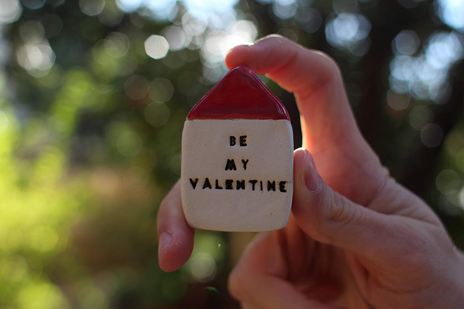 """Valentine's day gift Handmade Decorative Ceramic Miniature House with an Inspirational Quote """"Be my Valentine"""""""