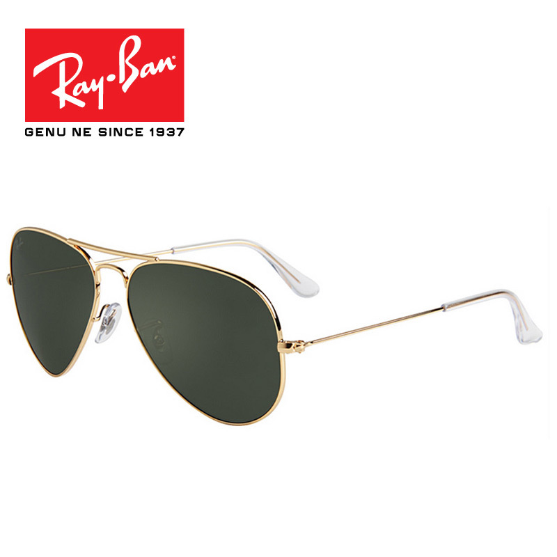 RayBan Sunglasses retro Men Women Aviator Sunglasses ray brand with logo  3025 L0205 Gold Frame Green a7b03d084431