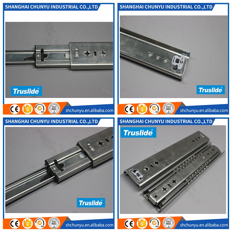 Customized full extension soft close table bearing drawer slides rail