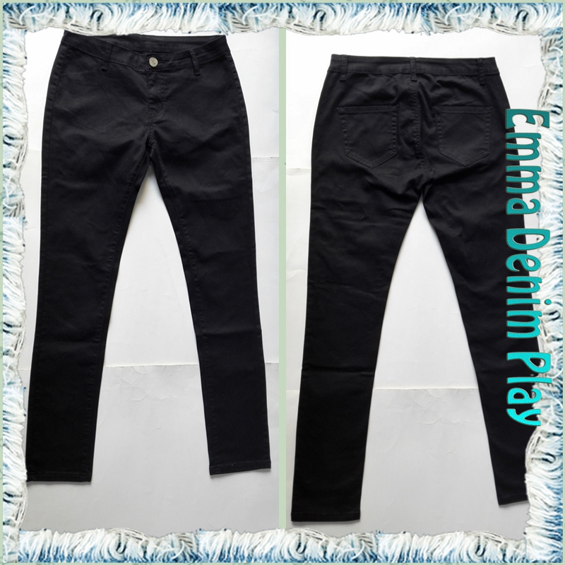 Girls Simple Design Black Wash Skinny Jeans without Pockets