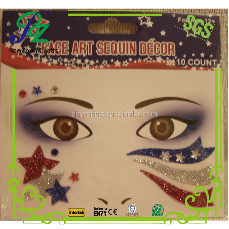 Holiday face art gem stickers/body decorative stones/glitter stone temporary tattoos