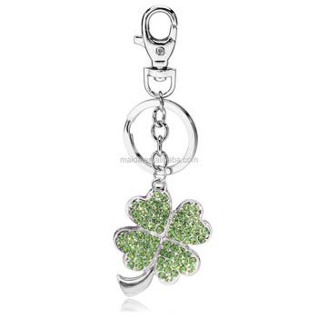Ucuz özel Anahtarlıklar Yeşil Kristal Elmas 4 Yapraklı Yonca