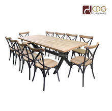 Outdoor Dining Table with Teak Wooden Top