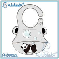 Personalized BPA free soft waterproof baby silicone bib with catcher