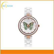 White Literal Butterfly Picture Lady Alloy Watch With White Classic Ceramic Band Gold Alloy Case