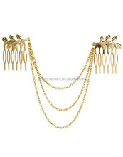 Yiwu Factory Promotional Price Alloy Leaf With Tassel Chain Double Hair Combs Indian Head Chains Headpiece