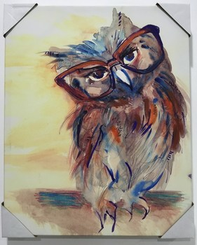canvas paintings for sale. Handmade Art Owl With Glasses Natural Scenery Animal Canvas Paintings For Sale