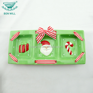 Hotel and restaurant use hand painted 3 ceramic compartment plate rectangle divided plate