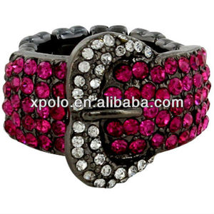 Unique Fuchsia Sparkling Belt Buckle Stretch Ring With Plating Black Gun