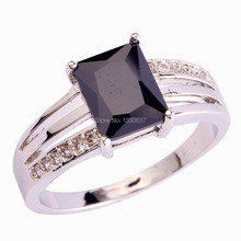 Women Jewelry Novelty Fashion Gift Black Spinel White Topaz Silver Ring Size 6 7 8 9