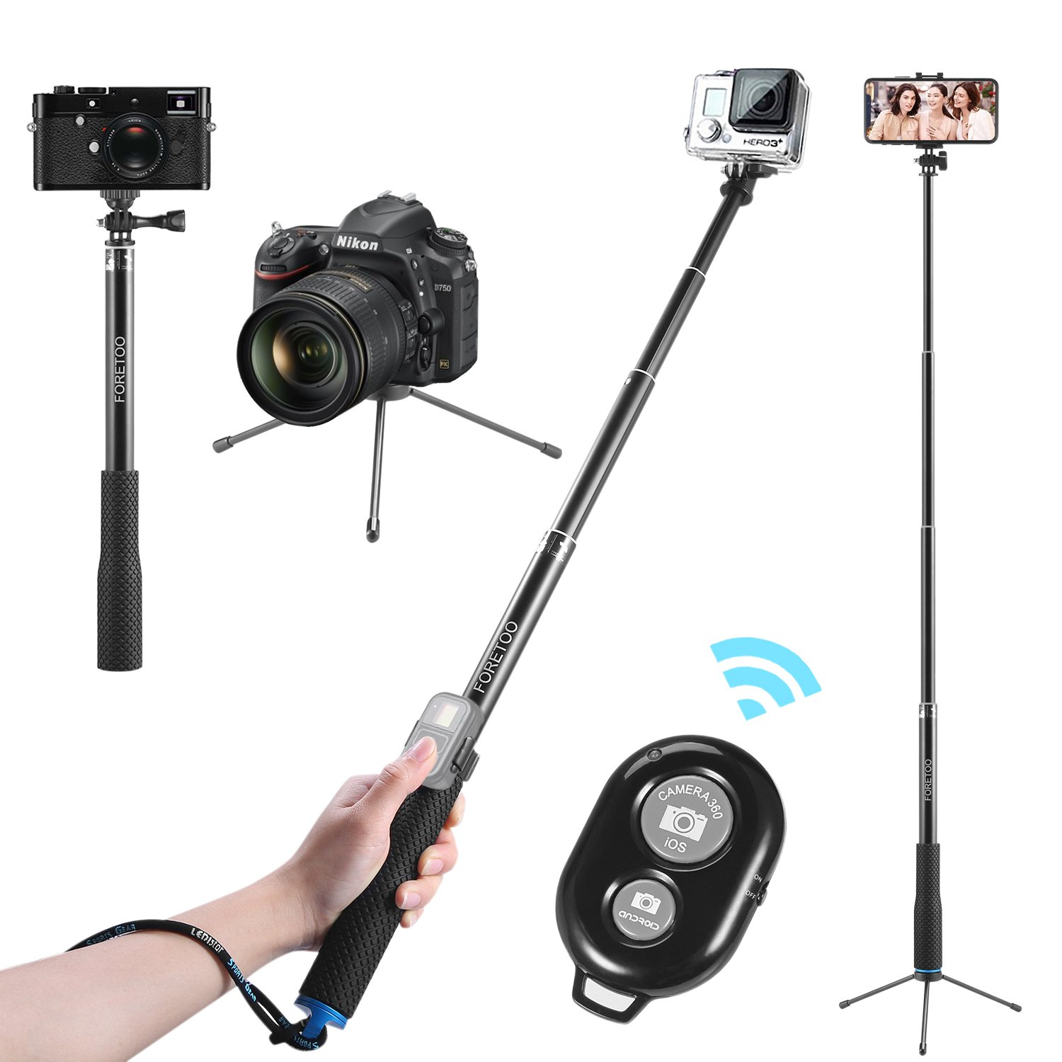 for Gopro Hero 6 5 4 3 Action Camera Accessories with Tripod Extension Pole gouduoduo2018 Hand Grip Extension Bracket