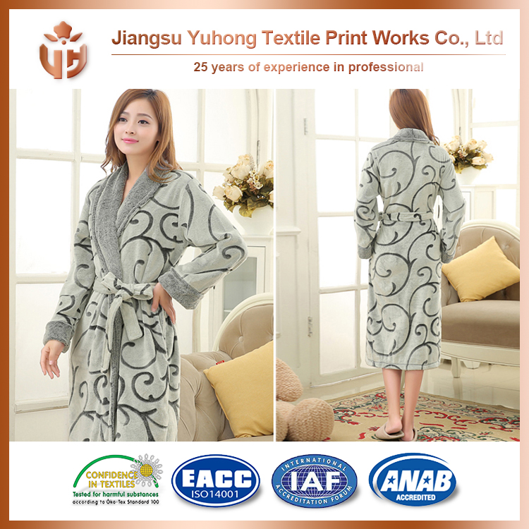 2016 New Brand 100% Polyester Short Bath Robe With Discount Price