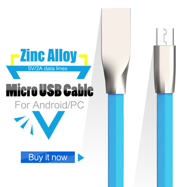 1.8A High Speed Ultra-thin Flat 1M/3Ft Zinc Alloy Micro USB <strong>Cable</strong> for Samsung