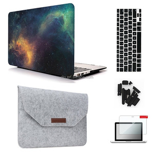 [5 in 1 Bundle] Hard Shell case +Felt Sleeve Screen+ Protector Keyboard+ Cover Dust Plug for MacBook Air 13""
