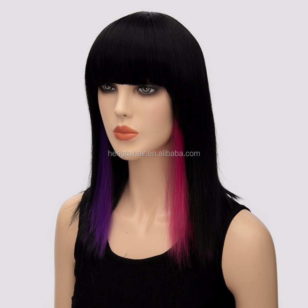 popular 16 inch Highlights Red and Purple Wig Mid-length Straight synthetic Wig