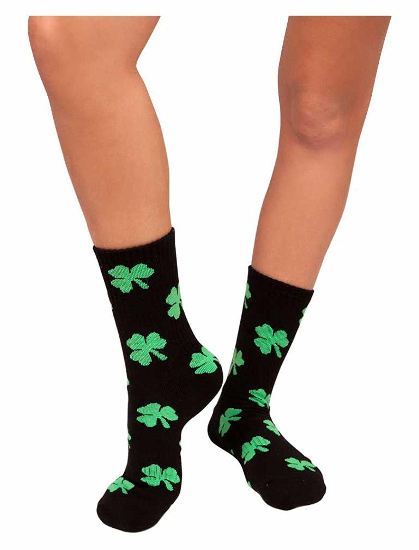 8cf894694 Get Quotations · Green Clovers Athletic Socks Shamrock St. Patrick s Day  Irish Unisex Crew socks
