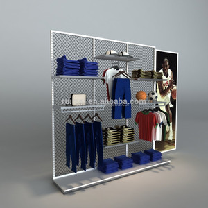 sport retail mesh high-end t shirt wall display rack garment wall display racks