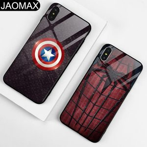 Custom Marvel batman Design Tempered Glass Phone Case For iphone X Xs max xr 6s 7 8 Plus Hard Back Cover Capa