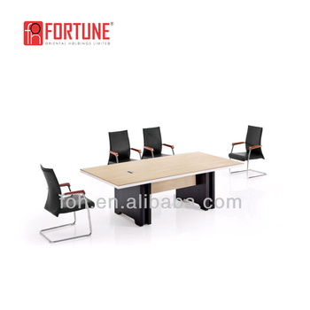 Modern Conference Room Table And 6 Black Leather Chairs Set Meeting