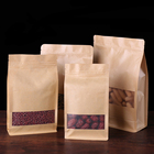 Custom Kraft Paper Resealable Ziplock Stand Up Pouch Coffee Tea Bag Packaging With Clear Window/