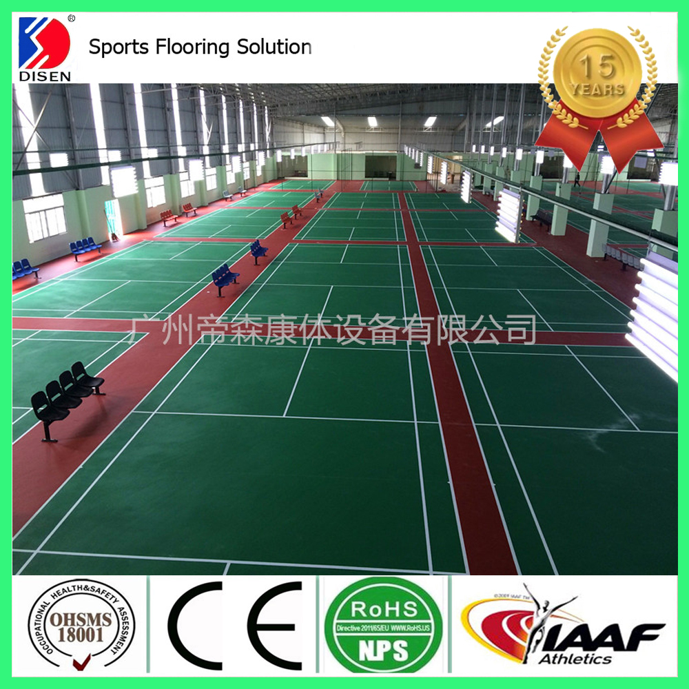 Silicon PU badminton sports flooring hot selling product in guangzhou disen sandwich system sport court price in China