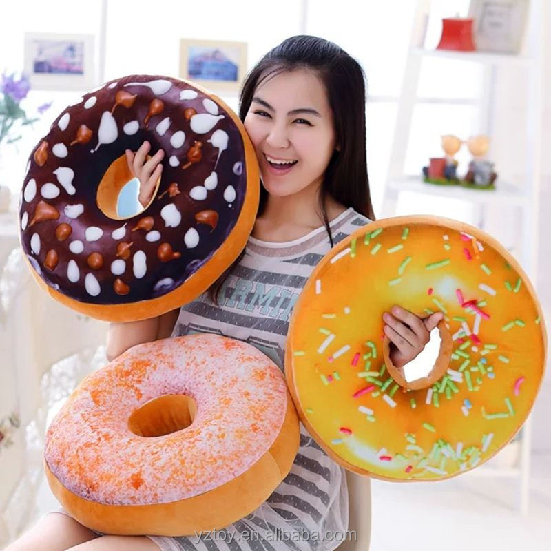 1pcs 40cm Cute Long Donuts Pillow Chocolate Donuts Plush Macaron Food Cushion Nice Bottom Cushion Pillow Doughnut