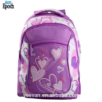 6f805af4cc53 Large capacity heart printing purple color backpack girls school bags for  kids