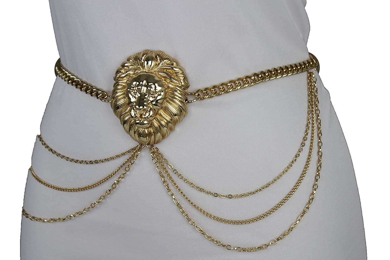 TFJ Women Fashion Elastic Belt High Waist Hip Silver Spikes Buckle M L XL Red