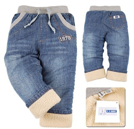 SK042 Free Shipping high quality 1pcs winter thick kids pants style warm cashmere baby boys jeans