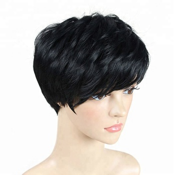 High Quality Hair Black Pixie Cut Short Wig None Full Lace Wigs For Black Women CA823
