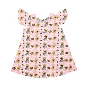 Wholesale baby girl casual dress 2018 dog pattern children boutique clothing